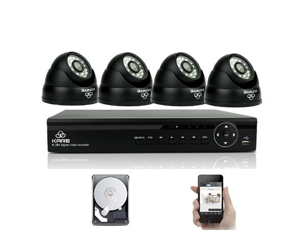 KARE® 4CH 1080N DVR Waterproof CCTV Camera System with 4x Super HD Indoor Outdoor Fixed Dome Cameras with 1TB Hard Drive ( upc: 520870104405)