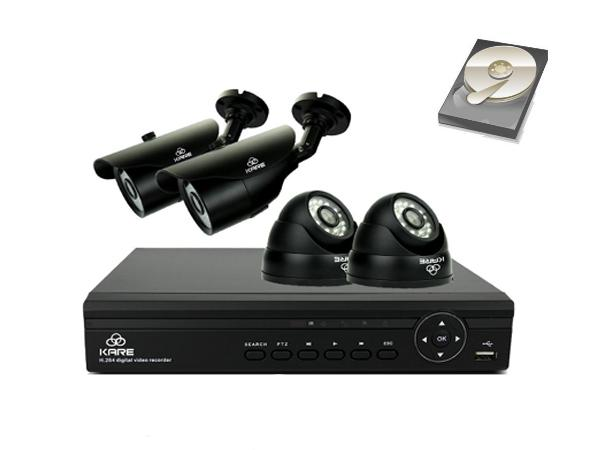 KARE® 4CH 1080N DVR Recorder CCTV Camera Systems with 4x 960P HD Camera and 1TB Pre-installed Hard Drive upc - 6950639035208