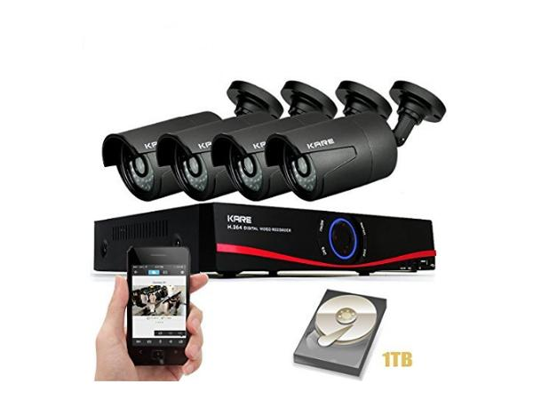 Kare 4CH 720P NVR Network Video Recorder CCTV Camera Systems with 4x Outdoor Security Bullet Cameras And 1TB Internal Hard Drive Disk (UPC:  520870103613)