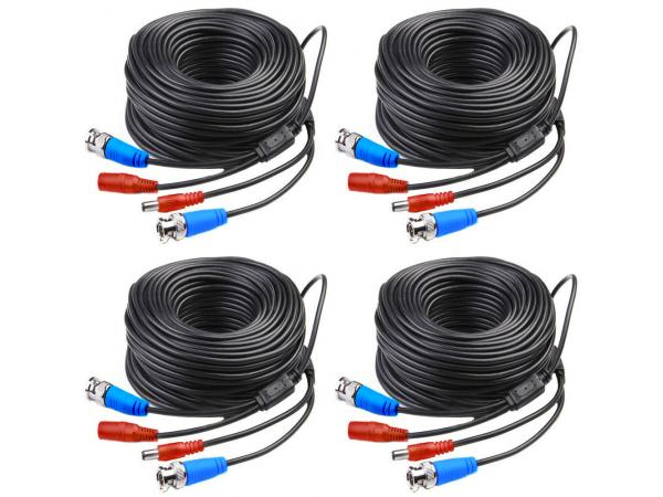 [UPGRADED] KARE 4x 30M BNC Video Power Cable For Analog Cameras, CCTV Camera DVR Security System Kit