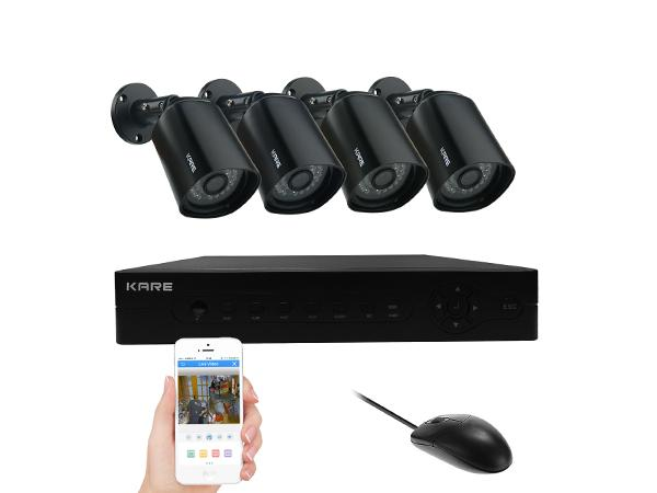 [1920x 1080 HD] KARE 4 Channel 1080N DVR System with 4x 2.0MP Outdoor CCTV Security Cameras and Pre-installed 1TB Hard Disk (1920x 1080 mega pixels, Night Vision, Rapid USB Storage Backup, Mobile App:Xmeye) upc, 520870104320