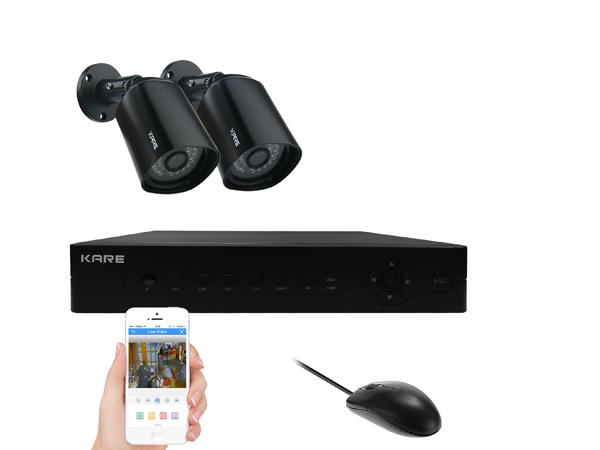 KARE 4 Channel 1080P HD Digital Video Recorder DVR Surveillance System with 2x In/Outdoor Cameras (1920x 1080 Mega-Pixel, Night Vision, Mobile App: Xmeye, NOT Include HDD) UPC, 712319559246